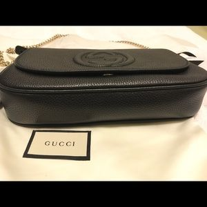 Gucci Bags - Gucci Soho Chain Shoulder Bag, Black Leather.